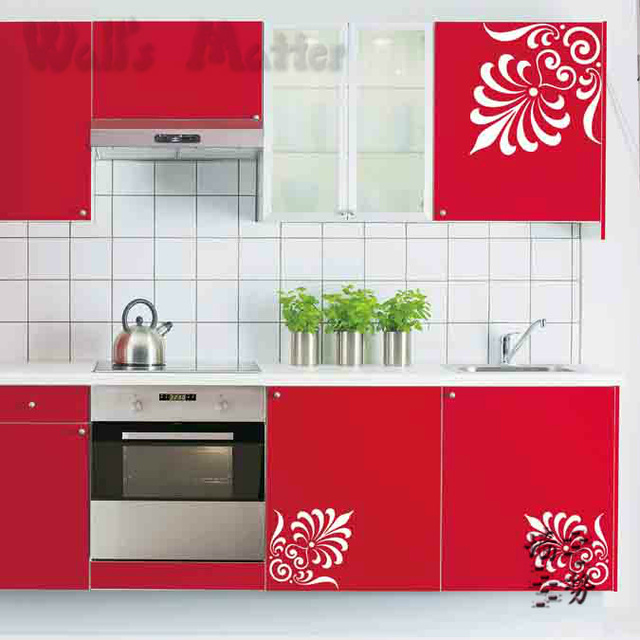 Us 9 99 Removable Vinyl Paper Art Decal Decor Fashion Decorative Pattern Kitchen Cabinet Bathroom Glass Door Wall Stickers W034 In Wall Stickers