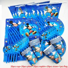 Mickey Mouse 20 People kids birthday party mickey mouse cup plate straw banner decoration sets paper garland baby shower