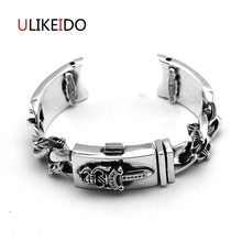 100% Pure 925 Sterling Silver Watch Strap For Men Vintage Hand Chain Heavy Thai Silver Jewelry Sword Charm Bracelet Homme 705