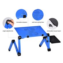 Portable Mobile Laptop Standing Desk For Bed Sofa Laptop Folding Table Notebook Desk With Mouse Pad & Cooling Fan For Office(China)