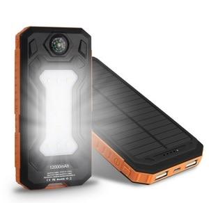 Image 2 - Colaier Solar Power Bank Dual USB 20000mAh Waterproof PowerBank Bateria External Portable Solar Panel with LED Burgundy