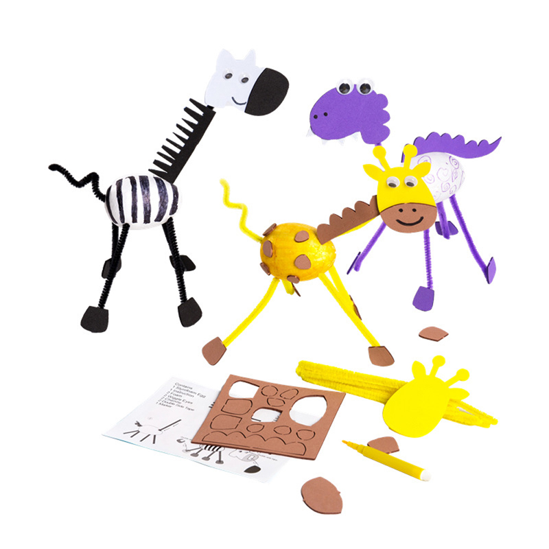 Kids DIY Craft Toys 3D Giraffe Zebra Dinosaur Animals Model Baby Painting Egg Kindergarten Educational Toys For Children