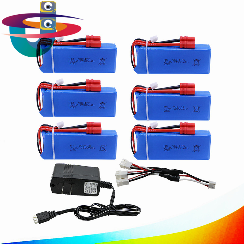Upgrade 25C 7.4v 2500mah Lipo Battery For Syma X8 X8C X8W X8G RC Quadcopter Parts Drone + 3 In 1 Charge Cable+ Charger lipo battery 7 4v 2700mah 10c 5pcs batteies with cable for charger hubsan h501s h501c x4 rc quadcopter airplane drone spare