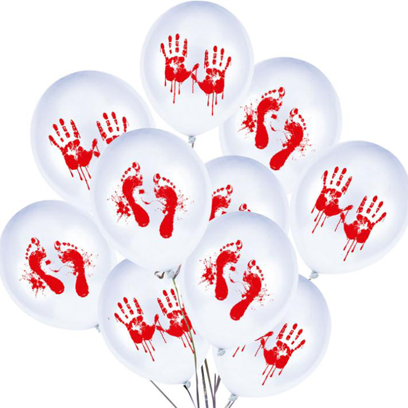 Blood Hand 1Pack of 10pcs Meisohua Halloween Party Latex Balloons 1Packs 10Pcs 12 lnch Black Grimace Red Letter Blood Hand Skull Halloween Latex Balloons for Party Supplies Set