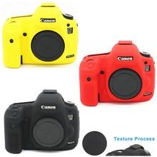 Силиконовый кожаный чехол для брони, защита корпуса, противоскользящий текстурный дизайн для Canon EOS 5D Mark III 3 5D3 / 5Ds R / 5Ds только для камеры