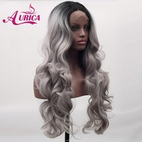Aurica Ombre Silver Grey Heat Safe Synthetic Hair Lace Front Wig With Black Roots For Women