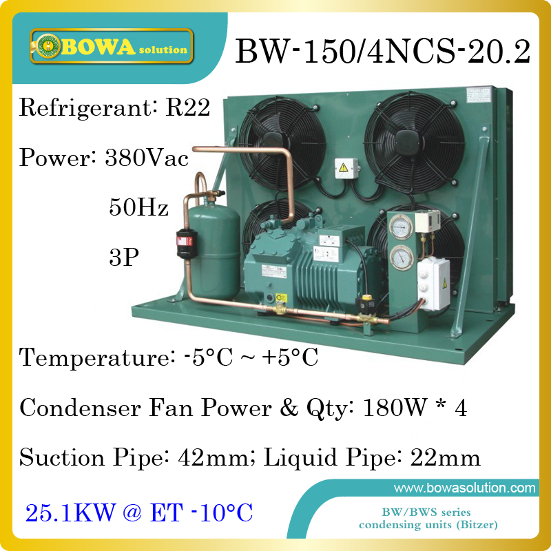 8500dollars buy 20HP air cooled refrigeration plant with Bitzer reciprocating compressor and 130sqm finned tube condenser ...