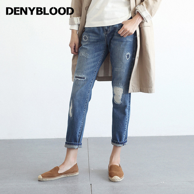 63729efa52 100% Algodón Novio Jans para Mujeres Jeans Gastados Ripped Loose Fit  Patchwork Bordado Vintage Washed