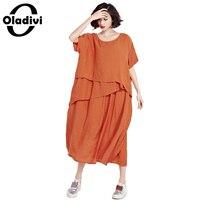 74c8203d92110f Oladivi Plus Size Maxi Dress Women Fashion Cotton Linen Long Loose Dress  Ladies Solid Casual Summer. Bekijk Aanbieding. Retro Party Jurk Vrouwen ...