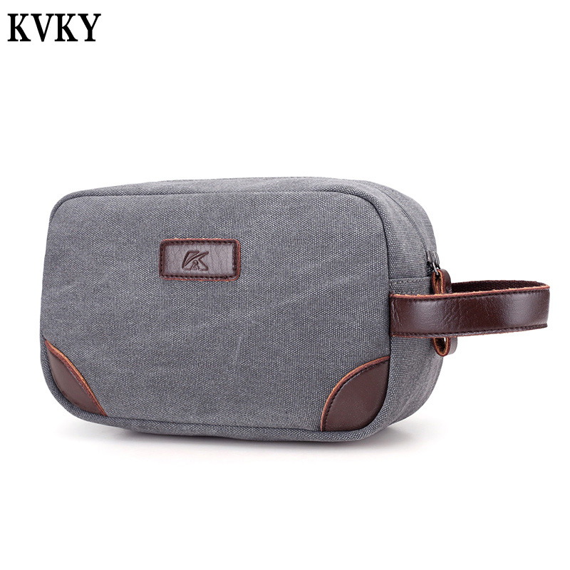 KVKY Brand New Arrive Fashion Small Bag Handbags Men and Women Canvas Day Clutch Bag Business Hand Bags Large Capacity Wallets