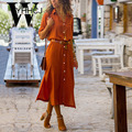 WYHHCJ vestido button women dress 2018 turn-down casual vadim winter dress long sleeve sides split Long autumn Dress befree robe
