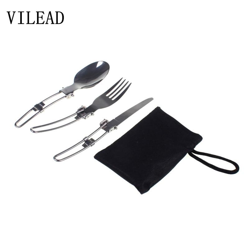 VILEAD आउटडोर कैम्पिंग पिकनिक टेबलवेयर स्टेनलेस स्टील तह चाकू कांटा और चम्मच टैब बर्तन डे कोकोना यात्रा किट