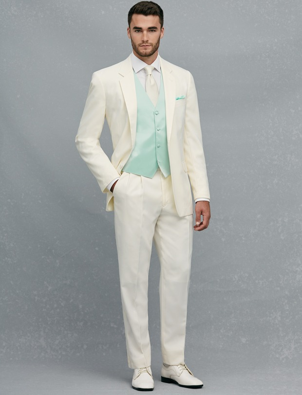 Groom Tuxedos and Men Suits New Arrival Two Button Ivory Groom Tuxedos Groomsmen Men's Wedding Prom Suits Custom Made (Jacket+Pants+Vest+Tie) K:179