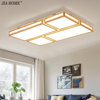 Dimming Remote Wooden Ceiling Lights In Square Shape Lighting Fixtures For Bedroom Kitchen Foyer De Tech