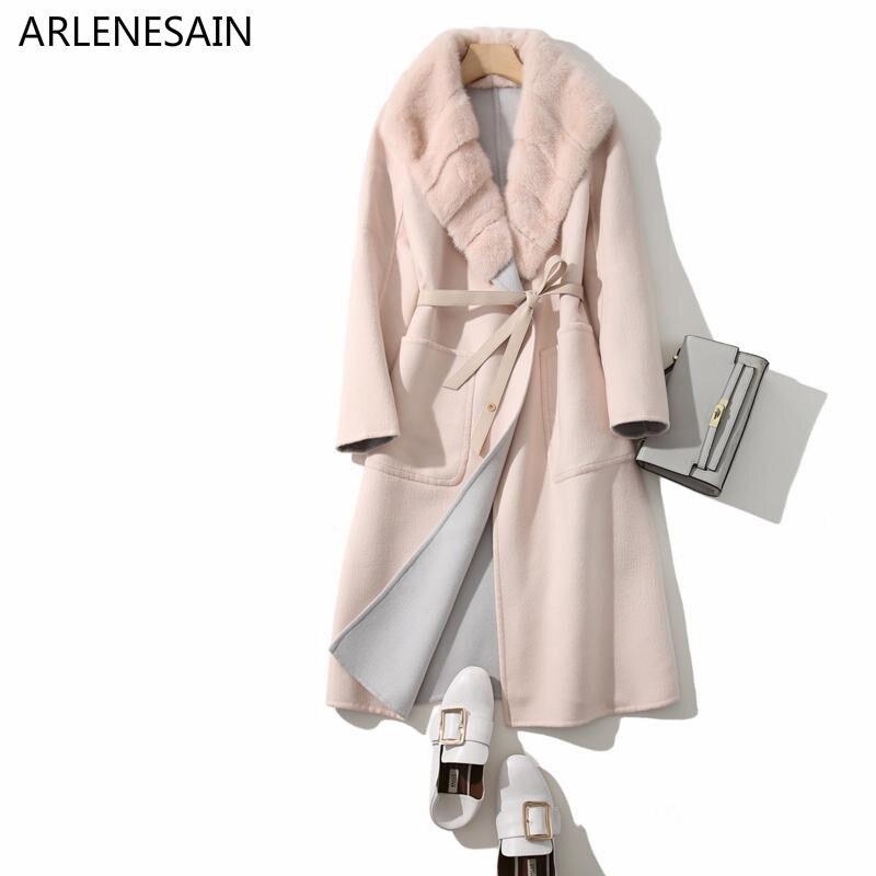 Tailleur Vison Personnalisé Femmes Col Bleu 2018 Nouveau Mode Arlenesain camel rose Manteau Cachemire IRpq1Yww