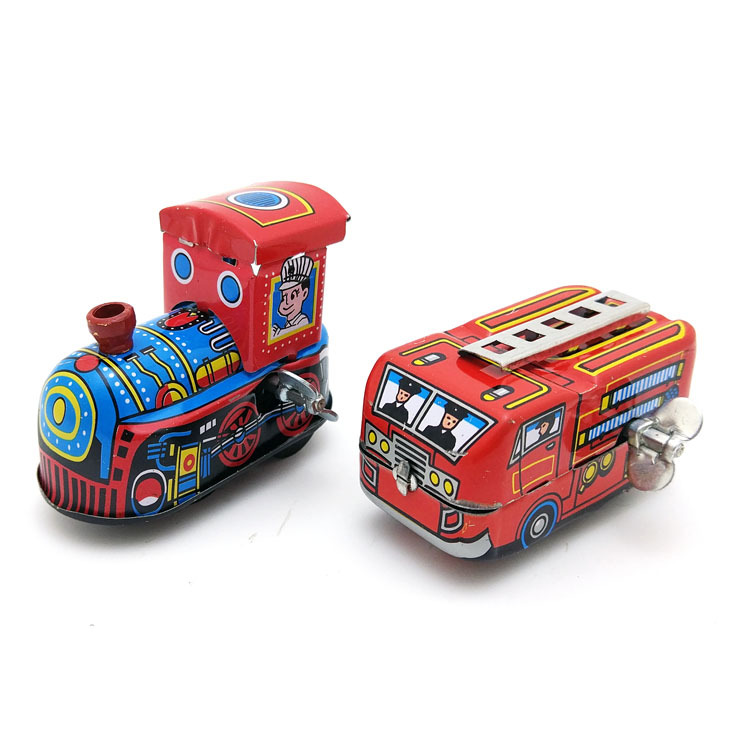 Kids Gift Clockwork Toys Retro Steam Train,Fire Truck Reminiscence Children Vintage Tin Toy Kid Classic Toys Wind Up Toys Boy