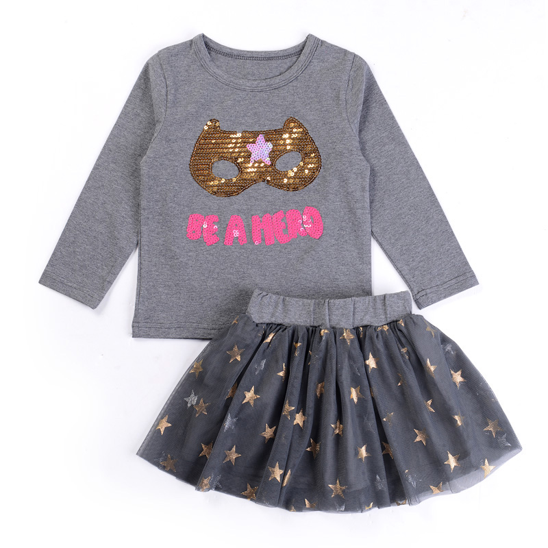 Childrens clothing suits 2018 Spring childrens clothing cartoon clothing cartoon T-shirt skirt 2 sets of sports suit + dress
