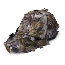 3D Unisex Camouflage Bionic Leaf Hat Hunting Jungle Woodland Fishing  Camo Sniper Archery Cap Adjustable breathable jungle bionic camo clothes wild hunting suits for hunter oem factory