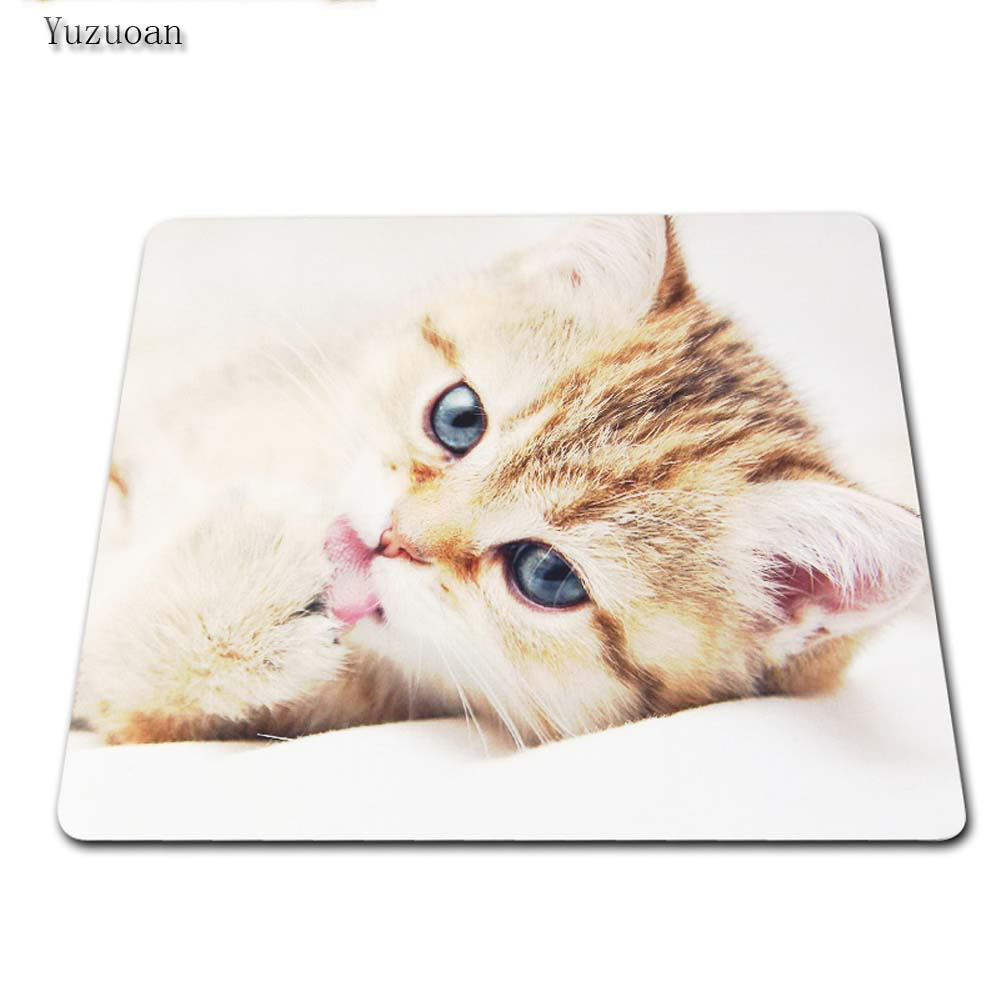 Yuzuoan Cute Cat Rubber Soft Anti-Slip Laptop PC Pad Mat White OverLock Gaming Mouse Pad Customized Supported 180*220 mm