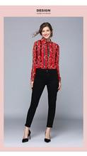 European station new womens temperament print top fashion wild lapel long-sleeved shirt free shipping