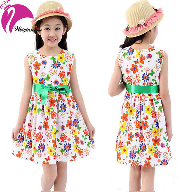 3ddb1e00f47e Summer 2016 Girl Dress Casual Cotton Sleeveless Baby Girls Clothes Flowers  Print Dresses with Belt Fashion Vestido Infantil