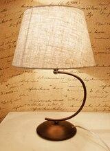 Breve vendimia forjado decoración de hierro cubierta de tela negro hierro base E14 lámpara de mesa Regalo de Cumpleaños Navidad luces de mesa