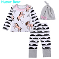 Humor Bear Autumn Baby Girls Sets Cartoon Zebra Baby Clothes Girls Clothes 3PCS Long Sleeve + Pant + Hat Suit Infant Garment