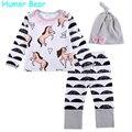 Humor Urso Outono Meninas Do Bebê Conjuntos de Roupa Do Bebê Dos Desenhos Animados Da Zebra Meninas roupas 3 PCS camisa de Manga Longa + Calça + Chapéu Terno Vestuário Infantil