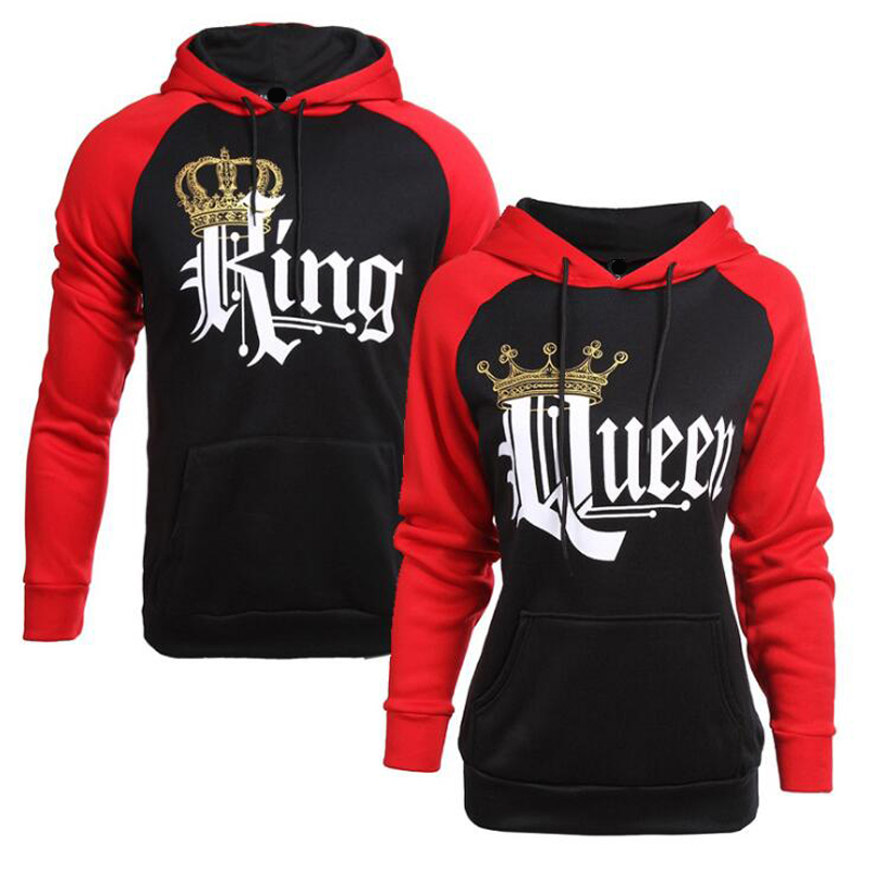 Queen King Print Casual Couple T-Shirt <font><b>Fashion</b></font> New Style <font><b>2019</b></font> Letter Women T-Shirt <font><b>Sexy</b></font> Long Sleeve Shirt image