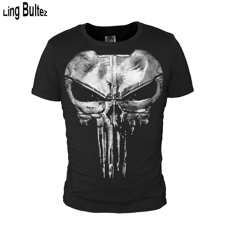 Ling Bultez High Quality Men T Shirt Daredevil Punisher T Shirt Ghost Tshirt Short Sleeve Black Tshirt