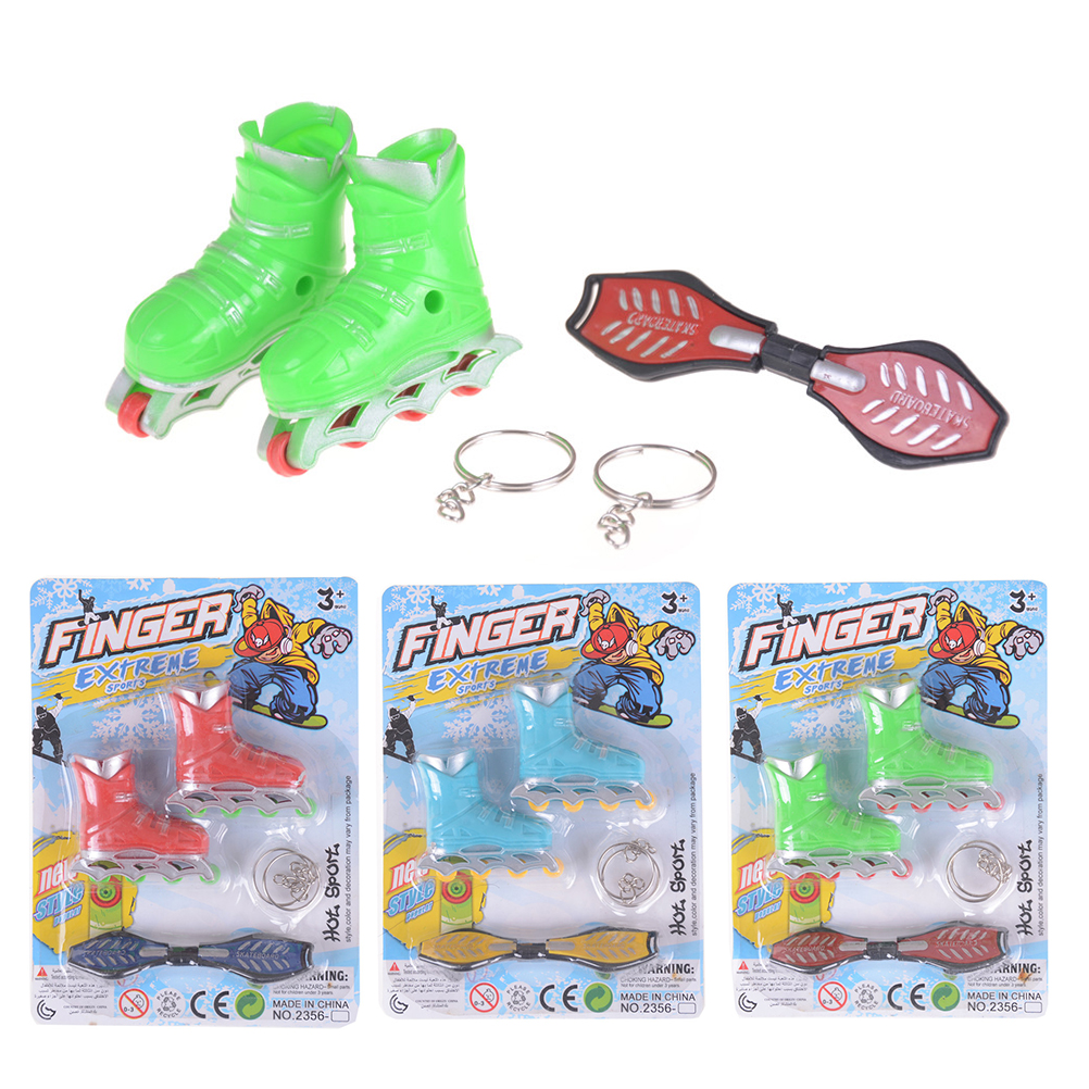 1Pair Funny Dollhouse Finger Skateboard Roller Games plastic Skates Sport Shoe Gift For Kids Children Hot Sale