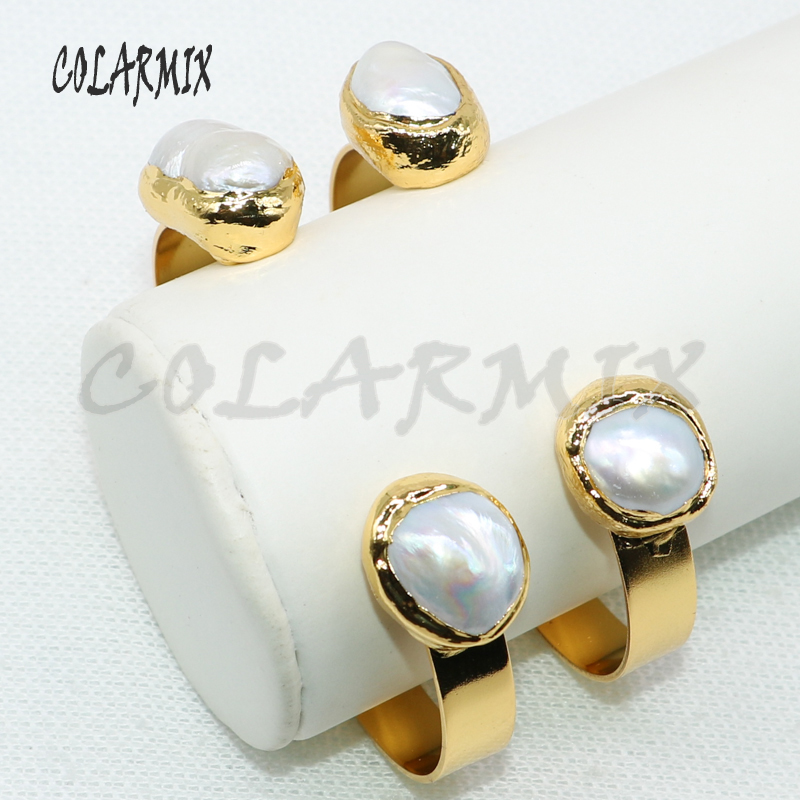 5 pcs pearl bangles double stone bangles golden cuff adjustable fashion vintage Gem jewelry for women