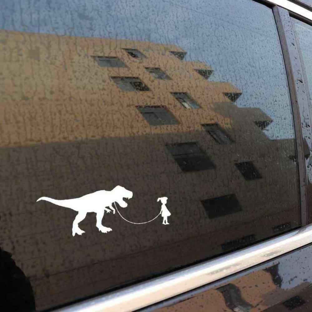 Gadis Memegang Dinosaurus Jubah Mobil Bumper Vinyl Decal Stiker Lucu Kepribadian Stiker 12.7 Cm X 4.5 Cm