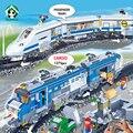Estación del tren grande estupendo 1275 unids building blocks set tren ferroviario del tren de control remoto bloques juguetes compatible con lego piezas