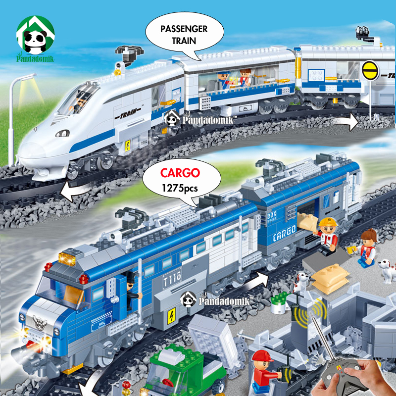 Remote Control Toy Train Super Large Building Set City Train Station 1275Pcs Building Blocks Bricks Railway RC Toy for Children new 2 color remote control railway name rc train rail electric bullet train toy high speed rc toys car model road power children
