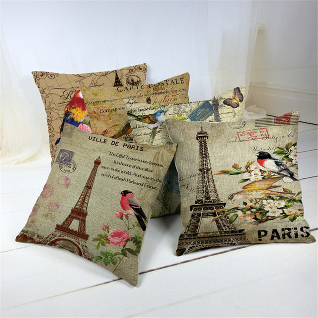 Removable Washable Paris American Vintage Style Sofa Cushion Covers For Seat Pillow Cases Whole Promotion Home