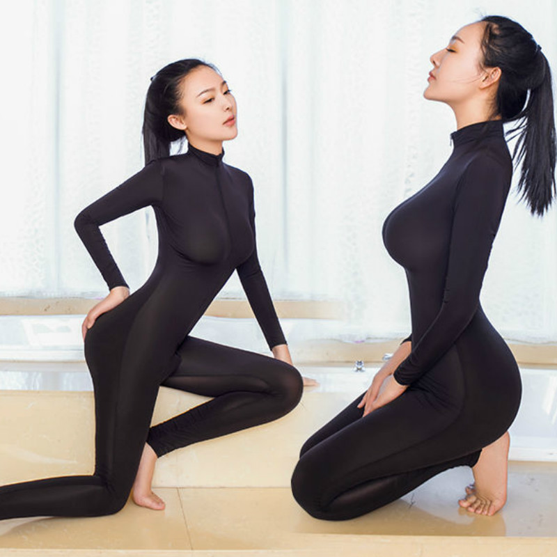2017 New Sexy Lingerie for Women Black Sheer Bodystocking Bodysuit Smooth Soft Fiber Double Zipper Long Sleeves with High Collar