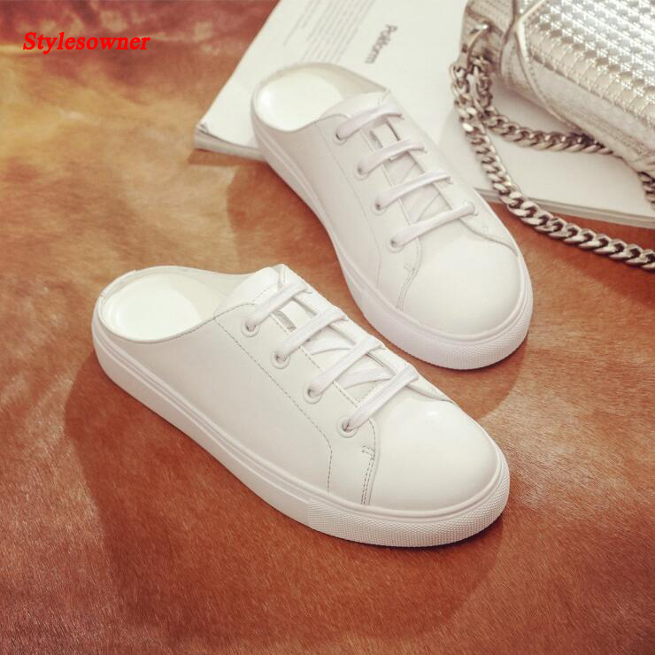 Stylesowner 2017 White Leather Flats Young Lady Fashion Flat Heel Round Toe Shoes Korean Style Women Slippers Loafers 2016 autumn fashion women full grain leather flat heel white shoes student bling round toe leather brand basic flats loafers