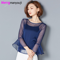 Summer Women Chiffon Blouse See Through Sexy Solid Color 2 PCS O Neck Flare Sleeve Base