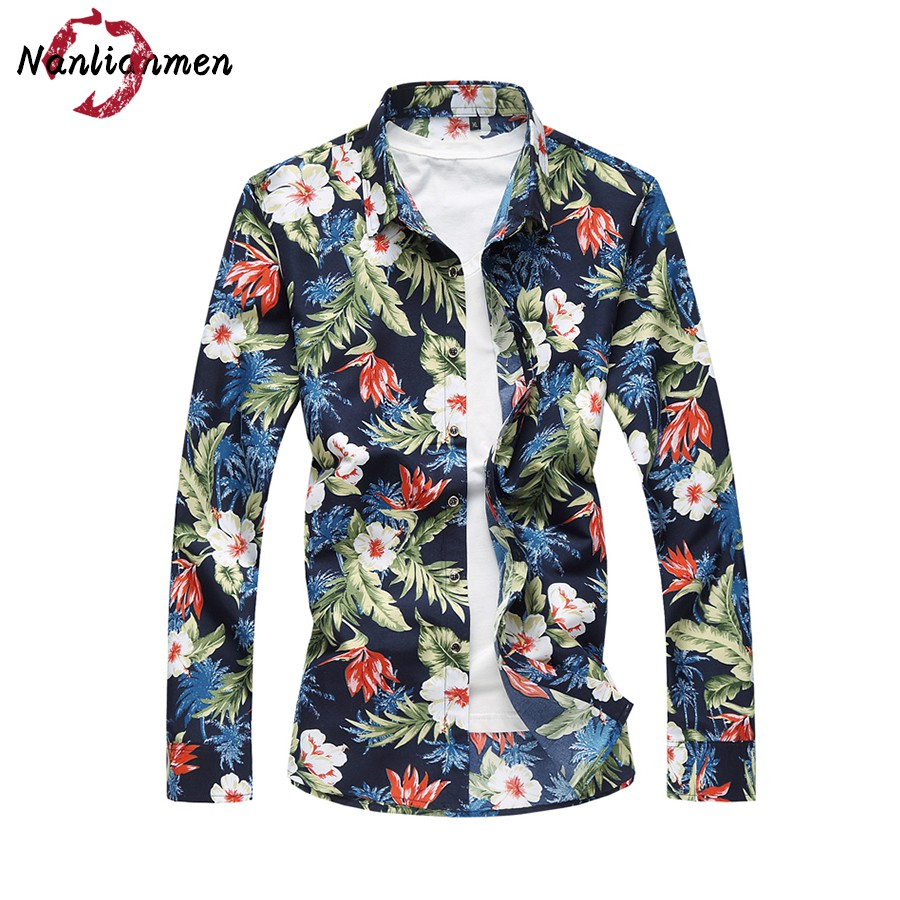2017 real full summer new casual hawaiian shirt men slim for Mens slim hawaiian shirt