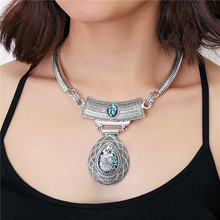 New Bohemian Necklace Tibetan Silver Jewelry Popular Retro Bohemia Style Torques Crystal Gem Water Drop Pendant