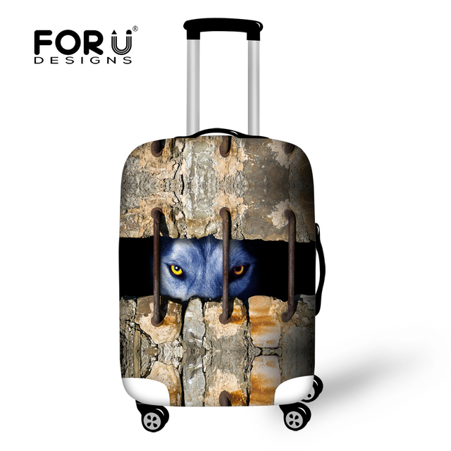 3D Animal Wolf Print Elastic Travel Luggage Cover Stretch Suitcase Protect Cover Suit 18-30 Inch Case Waterproof Luggage Cover