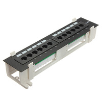 Universal 12 Port CAT5 CAT5E Patch Panel RJ45 Networking Wall Mount Rack Mount Bracket Both Surface