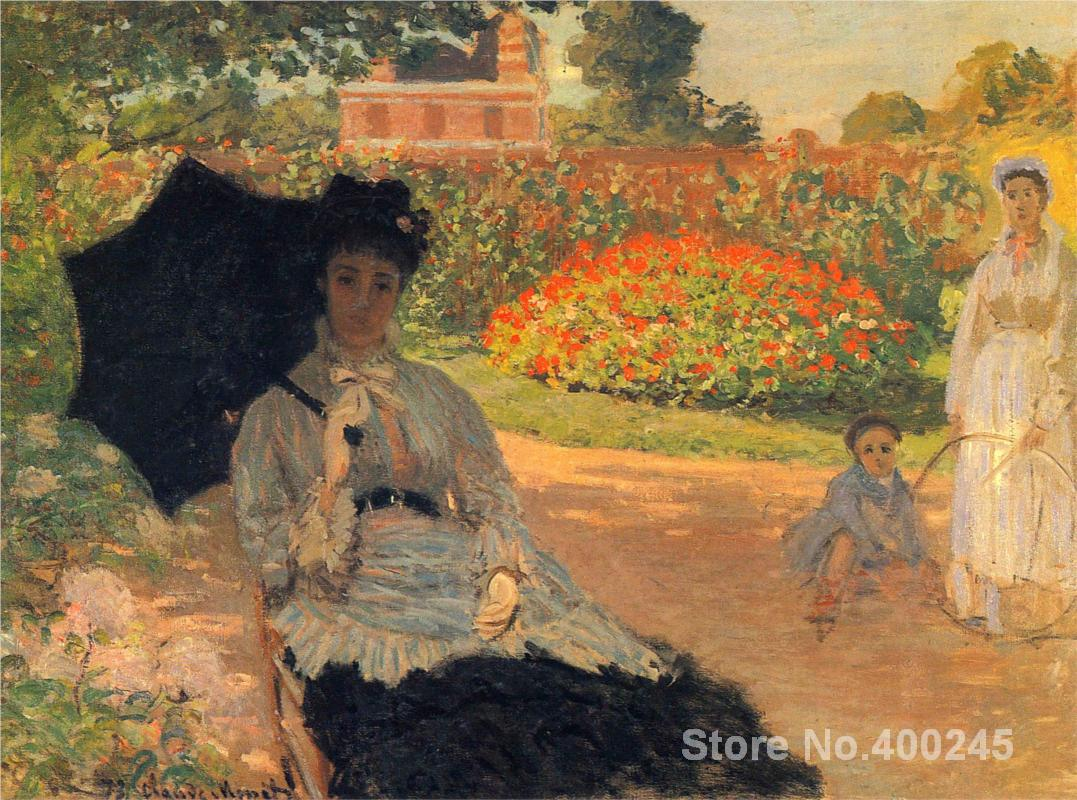 Christmas Gift art on Canvas Camille Monet in the Garden by Claude Monet Painting High Quality Handmade