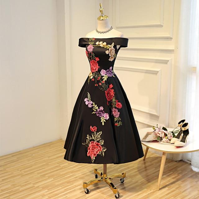 0f5027d8a Preto padrões florais cocktail dress custom made robe de cocktail summer  dress vestido de formatura graduação