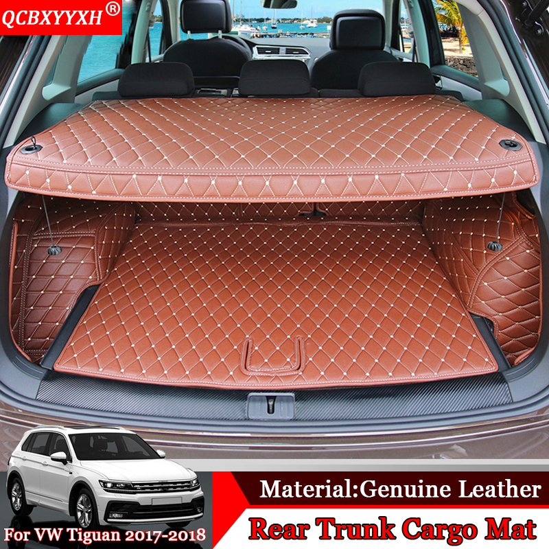 QCBXYYXH Car-styling Car Floor Mat All Leather Tray Carpet Cargo Liner Custom Fit Car Trunk Mat Carpet For VW Tiguan 2017 2018 fit for ford mondeo focus explorer edge taurus kuga escort ecosport boot liner rear trunk cargo mat floor tray carpet