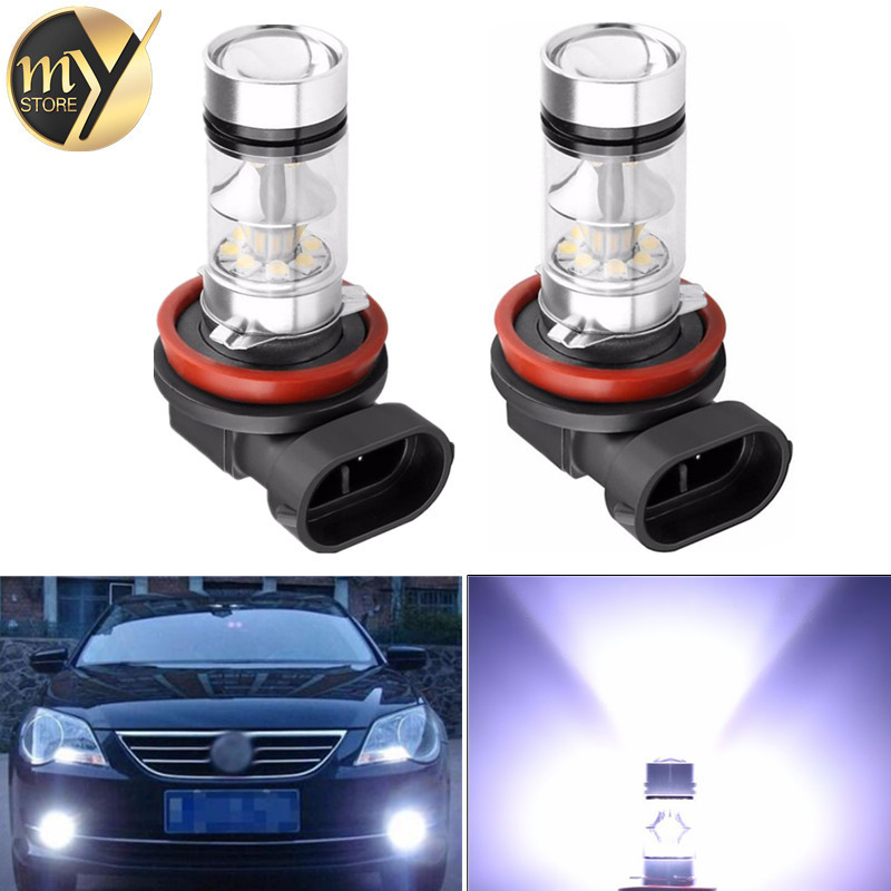 2PCS H8 H9 H11 9006 100W 20 SMD Car Auto LED Fog DRL Daytime Running Light Bulb Lamp DC 12V 24V 6000k Super Bright White 1x car led hb4 9006 33 led 5630 smd white car auto light source fog drl daytime running driving lamp bulb daytime running light
