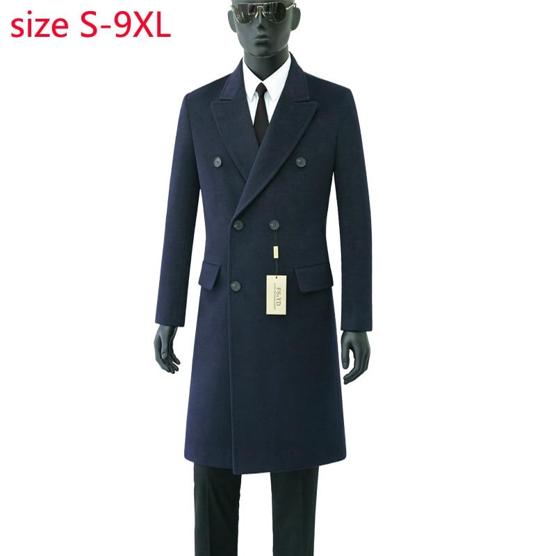 Erkek Kıyafeti'ten Yün ve Karışımları'de 2019 Yeni Varış Yüksek Kaliteli Sonbahar Yün Palto Çift Breasted Coat Erkekler Moda Trendi Rahat Kalın Süper Büyük Boyutu S 8XL9XL'da  Grup 2