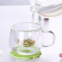 Transparent Clear Glass Milk Mug Water Coffee Tea Cup With Tea Infuser Filter Lid Handle Drinkware