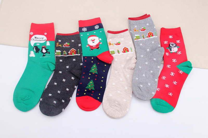2017 New Cute Women Winter Socks Christmas Gift Warm Soft Cotton Short Sock Santa Claus Deer 6 pairs of a lot wholesale ...